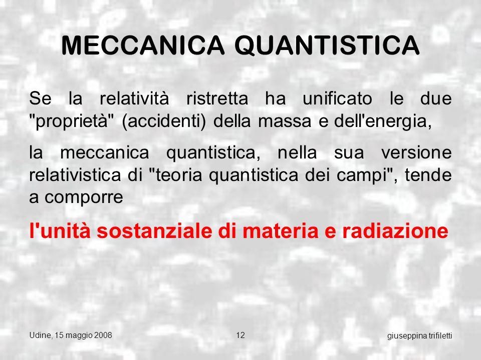 Udine, 15 maggio 200812 giuseppina trifiletti MECCANICA QUANTISTICA Se la relatività ristretta ha unificato le due proprietà (accidenti) della massa e dell energia, la meccanica quantistica, nella sua versione relativistica di teoria quantistica dei campi , tende a comporre l unità sostanziale di materia e radiazione