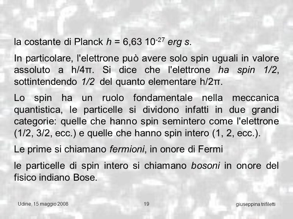 Udine, 15 maggio 200819 giuseppina trifiletti la costante di Planck h = 6,63 10 -27 erg s.