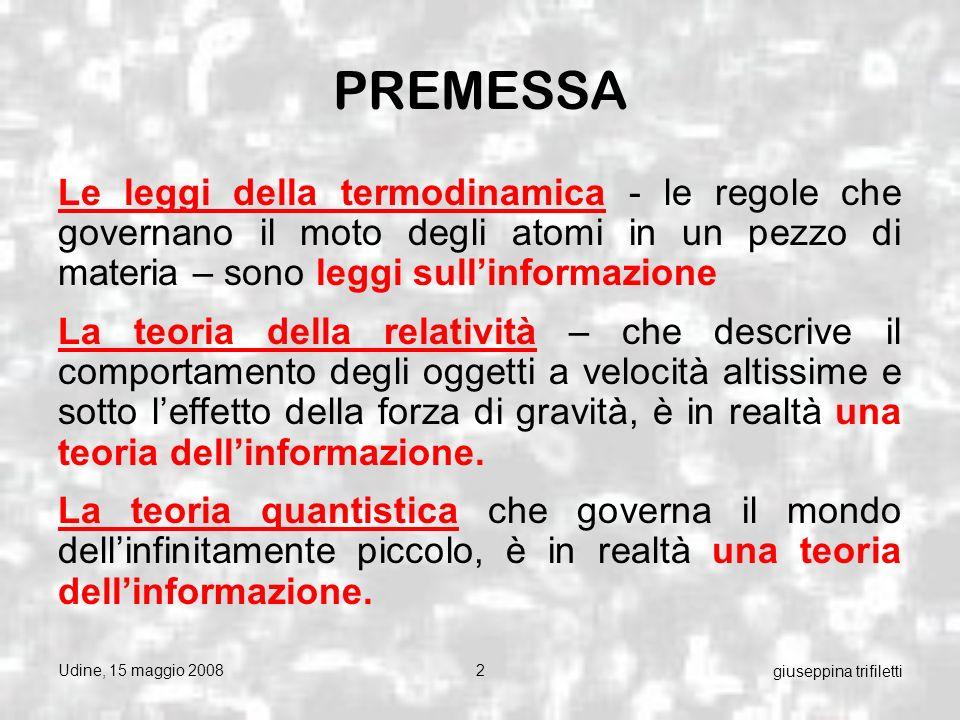 Udine, 15 maggio 20083 giuseppina trifiletti Il concetto di informazione che va ben oltre il semplice contenuto di un disco rigido, lega tutte queste teorie in ununica idea incredibilmente potente.