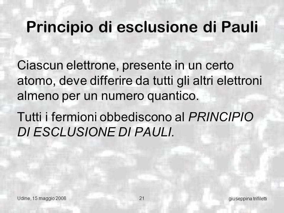 Udine, 15 maggio 200821 giuseppina trifiletti Principio di esclusione di Pauli Ciascun elettrone, presente in un certo atomo, deve differire da tutti gli altri elettroni almeno per un numero quantico.