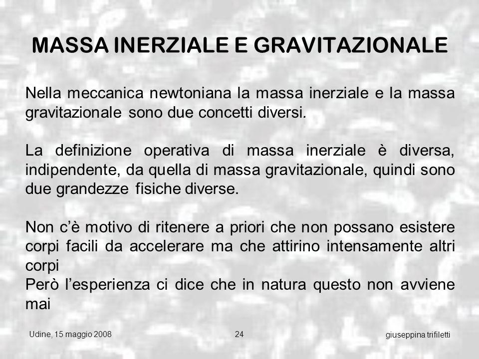 Udine, 15 maggio 200824 giuseppina trifiletti Nella meccanica newtoniana la massa inerziale e la massa gravitazionale sono due concetti diversi.