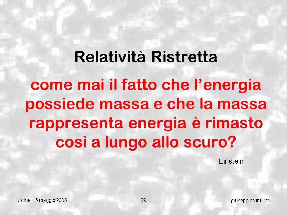 Udine, 15 maggio 200829 giuseppina trifiletti Relatività Ristretta come mai il fatto che lenergia possiede massa e che la massa rappresenta energia è rimasto così a lungo allo scuro.