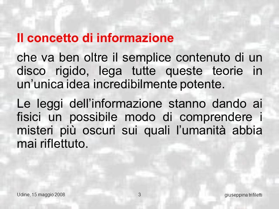 Udine, 15 maggio 200834 giuseppina trifiletti La teoria cinetica della materia Lo sviluppo della teoria cinetica della materia è uno dei maggiori avvenimenti scientifici, realizzatosi sotto linfluenza diretta di detto criterio: il criterio meccanicistico.