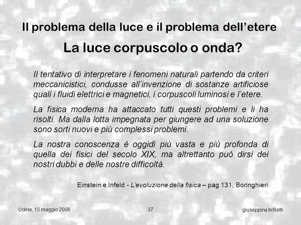 Udine, 15 maggio 200837 giuseppina trifiletti Il problema della luce e il problema delletere La luce corpuscolo o onda.