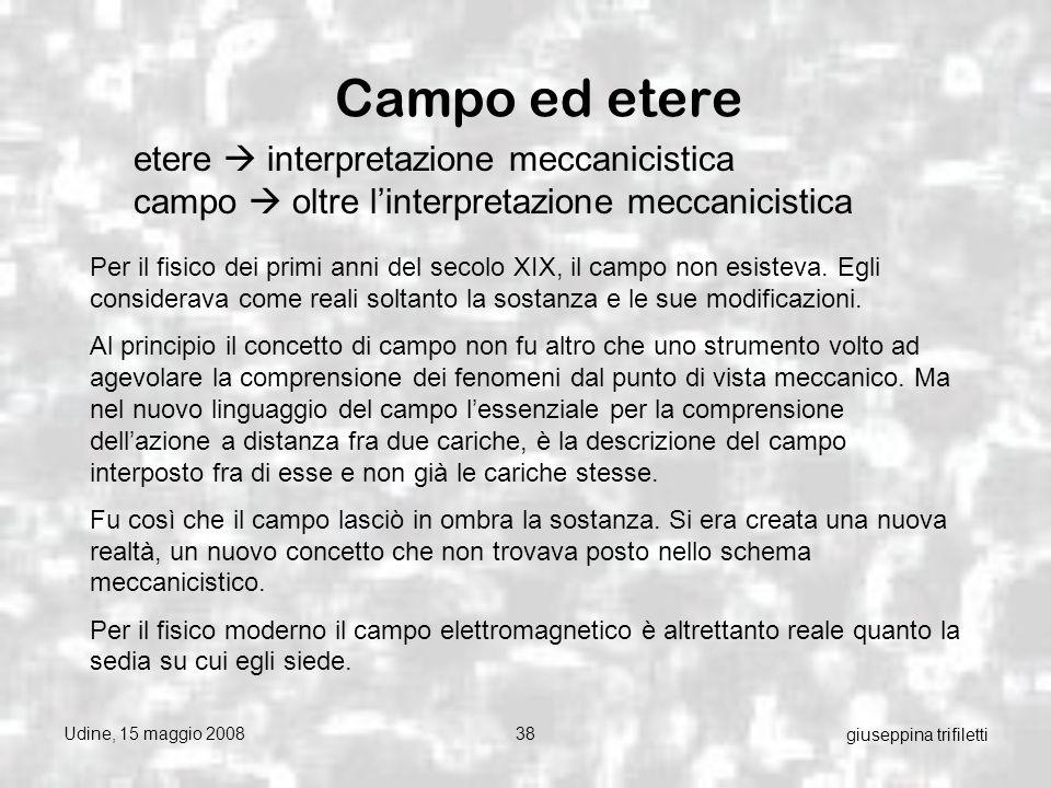 Udine, 15 maggio 200838 giuseppina trifiletti Campo ed etere etere interpretazione meccanicistica campo oltre linterpretazione meccanicistica Per il fisico dei primi anni del secolo XIX, il campo non esisteva.