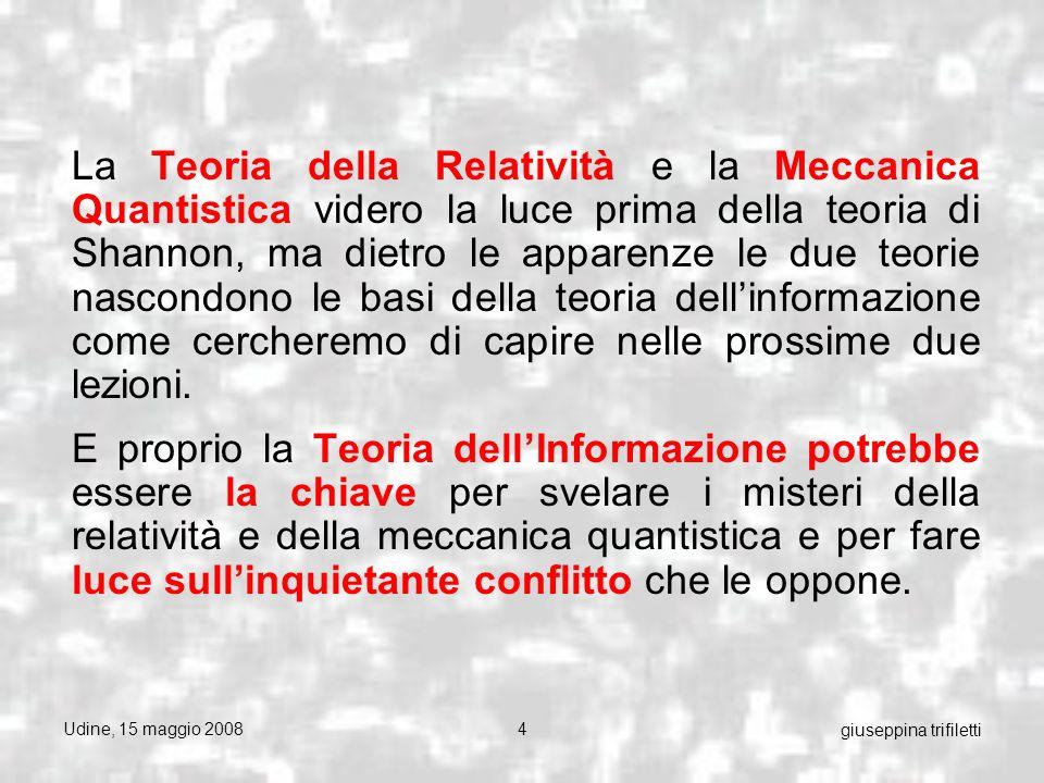 Udine, 15 maggio 200815 giuseppina trifiletti Dal punto di vista della fisica è più usuale denotare questo genere come campo , che si attua nelle due specie dei campi fermionici e dei campi bosonici .