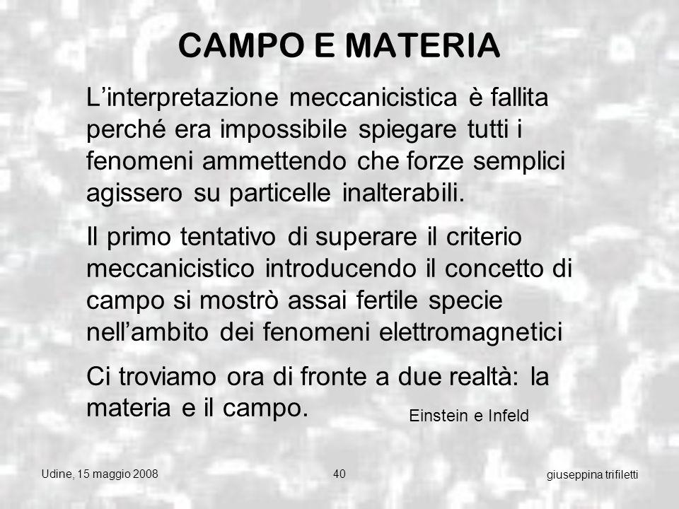 Udine, 15 maggio 200840 giuseppina trifiletti CAMPO E MATERIA Linterpretazione meccanicistica è fallita perché era impossibile spiegare tutti i fenomeni ammettendo che forze semplici agissero su particelle inalterabili.