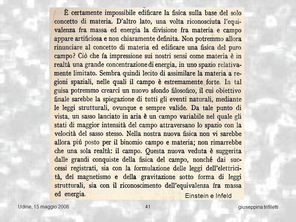 Udine, 15 maggio 200841 giuseppina trifiletti Einstein e Infeld