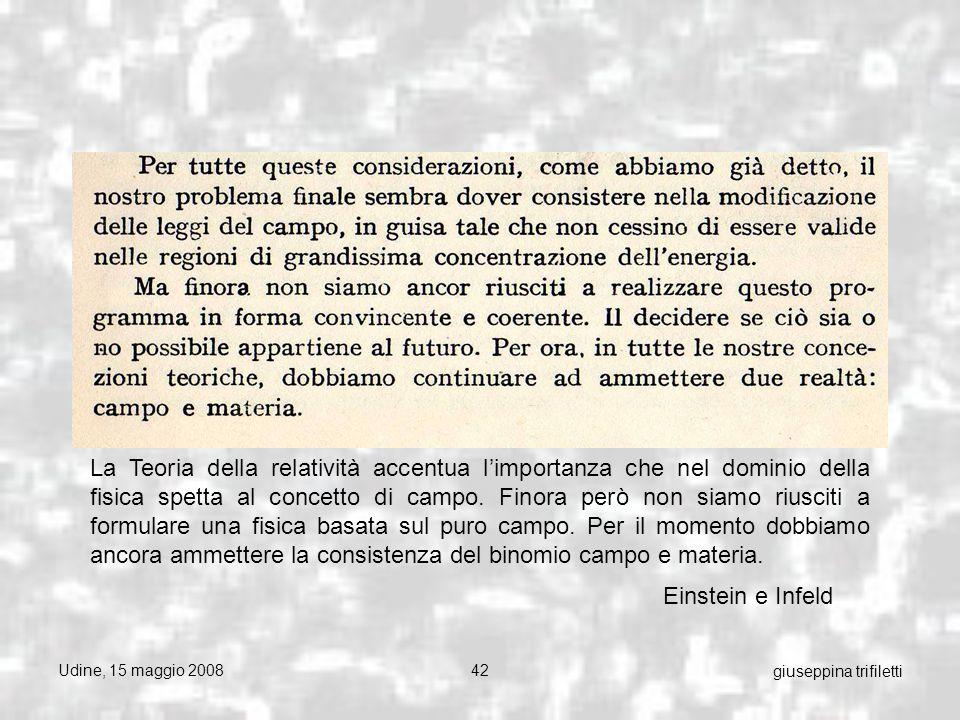 Udine, 15 maggio 200842 giuseppina trifiletti Einstein e Infeld La Teoria della relatività accentua limportanza che nel dominio della fisica spetta al concetto di campo.