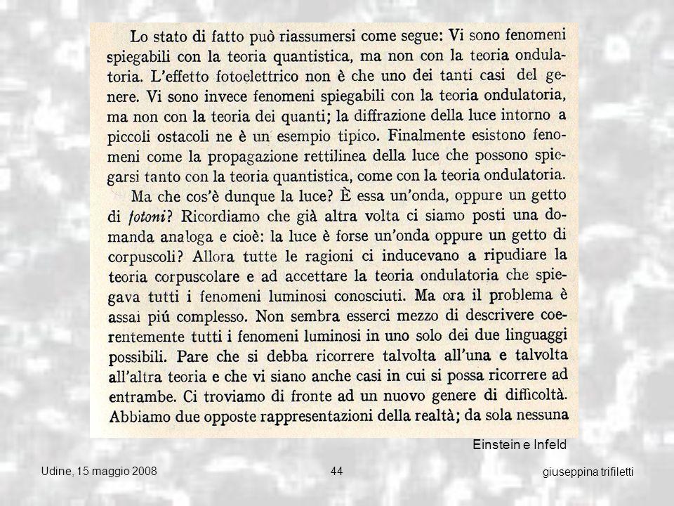 Udine, 15 maggio 200844 giuseppina trifiletti Einstein e Infeld