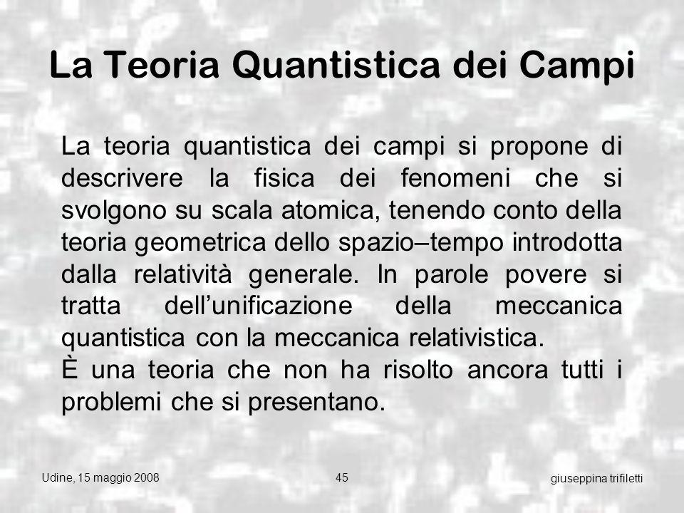 Udine, 15 maggio 200845 giuseppina trifiletti La Teoria Quantistica dei Campi La teoria quantistica dei campi si propone di descrivere la fisica dei fenomeni che si svolgono su scala atomica, tenendo conto della teoria geometrica dello spazio–tempo introdotta dalla relatività generale.