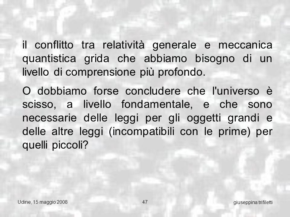 Udine, 15 maggio 200847 giuseppina trifiletti il conflitto tra relatività generale e meccanica quantistica grida che abbiamo bisogno di un livello di comprensione più profondo.