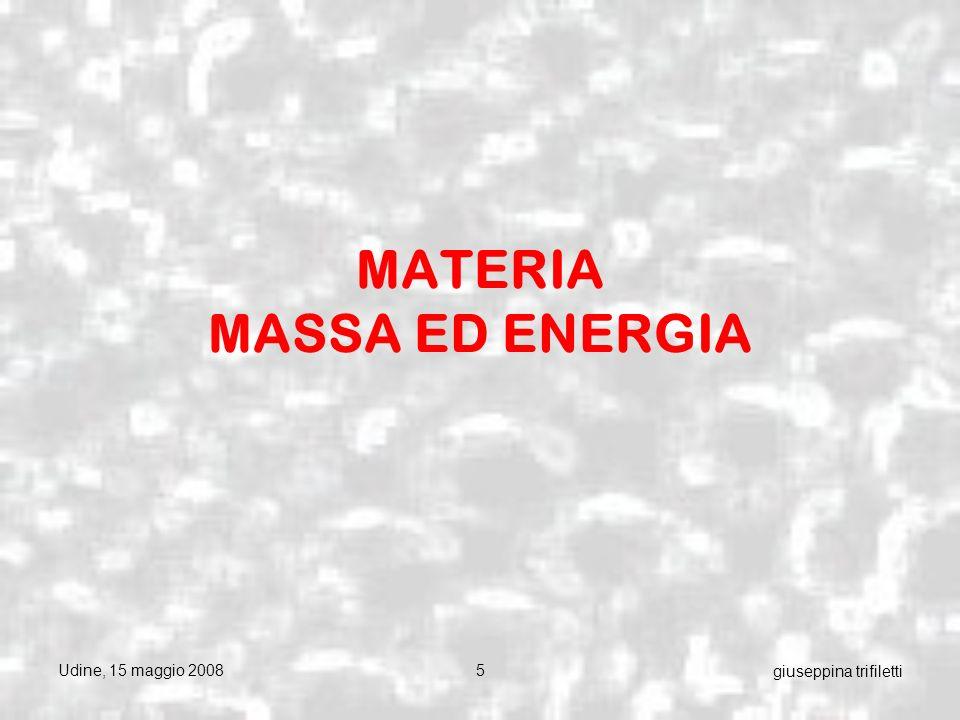 Udine, 15 maggio 200856 giuseppina trifiletti In un solo concetto: la materia disponibile si degrada ininterrottamente e irreversibilmente in materia non disponibile (ossia non più utilizzabile): la legge dell entropia vale anche per la materia e non solo per l energia.