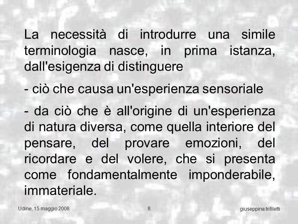 Udine, 15 maggio 20089 giuseppina trifiletti FISICA CLASSICA L interpretazione meccanicista della fisica classica vede, da un punto di vista filosofico, una confusione molto frequente fra sostanza e accidente cioè tra gli oggetti fisici e le loro proprietà .