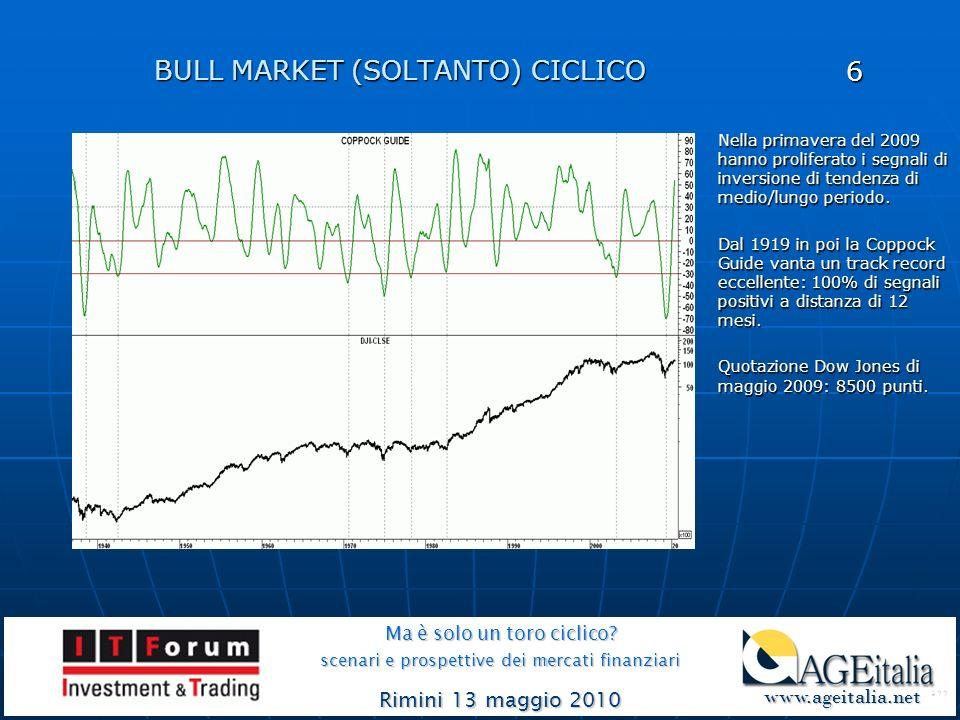 BULL MARKET (SOLTANTO) CICLICO Ma è solo un toro ciclico? scenari e prospettive dei mercati finanziari Rimini 13 maggio 2010 www.ageitalia.net www.age