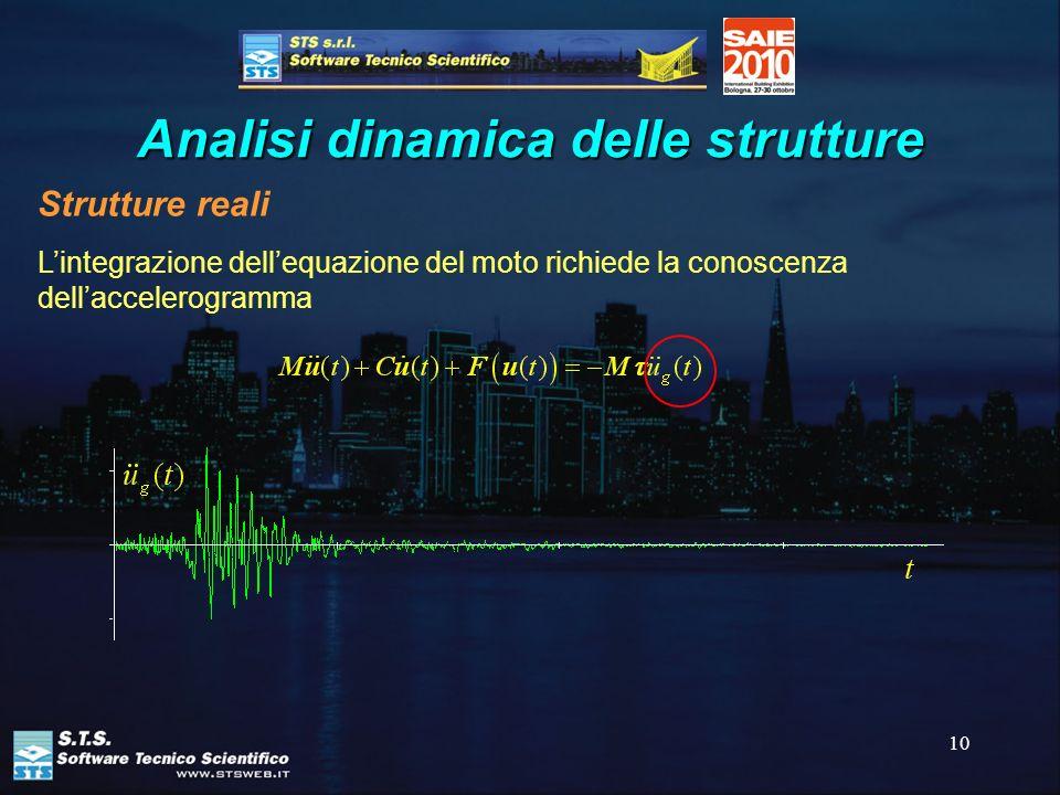 10 Analisi dinamica delle strutture Lintegrazione dellequazione del moto richiede la conoscenza dellaccelerogramma Strutture reali