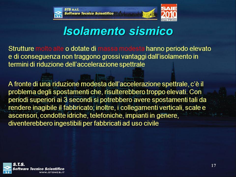 17 Isolamento sismico Strutture molto alte o dotate di massa modesta hanno periodo elevato e di conseguenza non traggono grossi vantaggi dallisolament