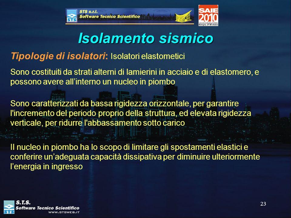 23 Isolamento sismico Tipologie di isolatori: Isolatori elastometici Sono caratterizzati da bassa rigidezza orizzontale, per garantire l'incremento de