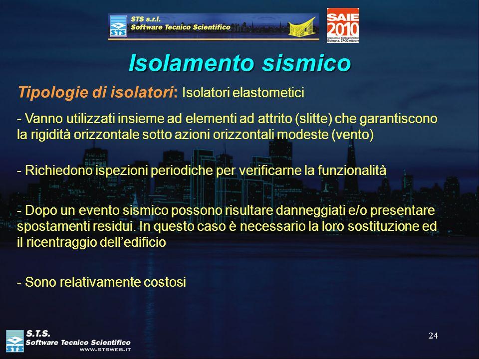 24 Isolamento sismico Tipologie di isolatori: Isolatori elastometici - Vanno utilizzati insieme ad elementi ad attrito (slitte) che garantiscono la ri