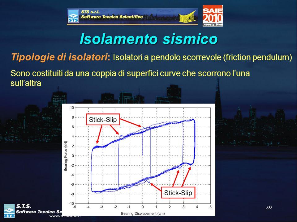 29 Isolamento sismico Tipologie di isolatori: Isolatori a pendolo scorrevole (friction pendulum) Sono costituiti da una coppia di superfici curve che