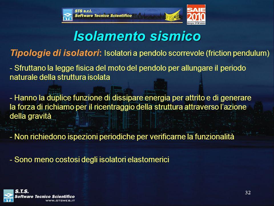 32 Isolamento sismico Tipologie di isolatori: Isolatori a pendolo scorrevole (friction pendulum) - Sfruttano la legge fisica del moto del pendolo per