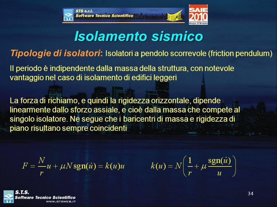 34 Isolamento sismico Tipologie di isolatori: Isolatori a pendolo scorrevole (friction pendulum) Il periodo è indipendente dalla massa della struttura