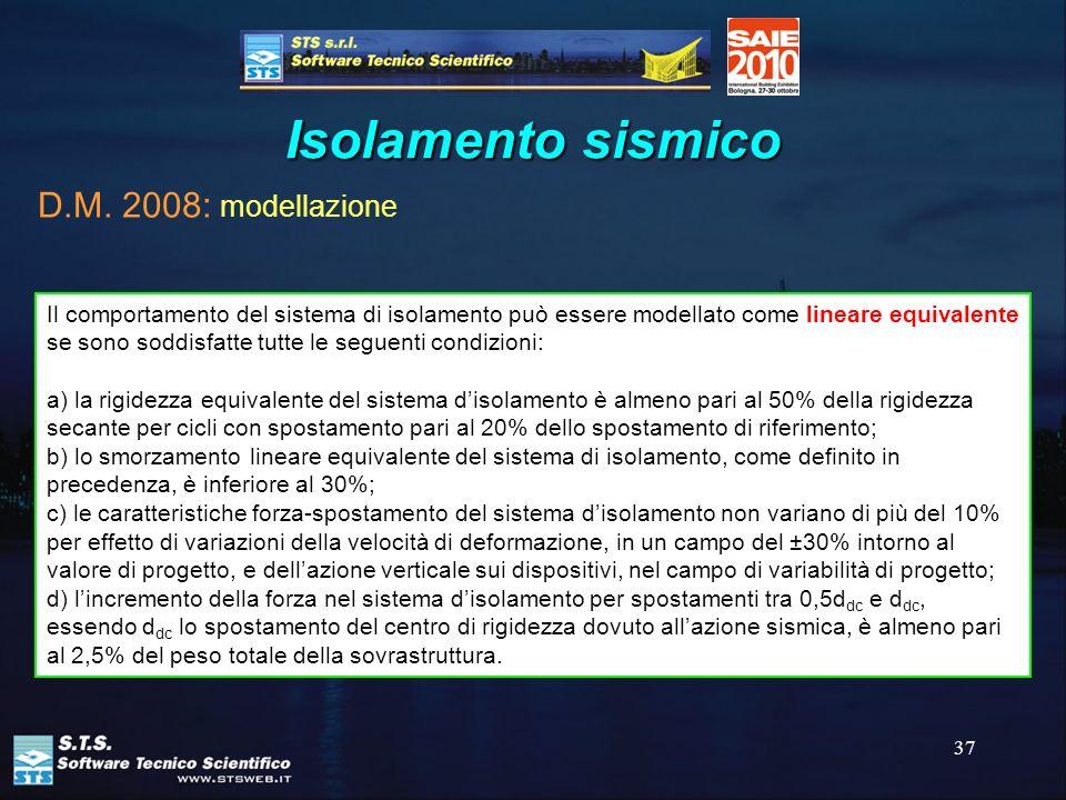 37 Isolamento sismico Il comportamento del sistema di isolamento può essere modellato come lineare equivalente se sono soddisfatte tutte le seguenti c