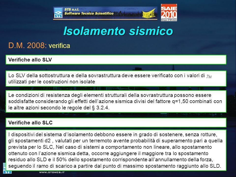 43 Isolamento sismico D.M. 2008: verifica Verifiche allo SLV Lo SLV della sottostruttura e della sovrastruttura deve essere verificato con i valori di