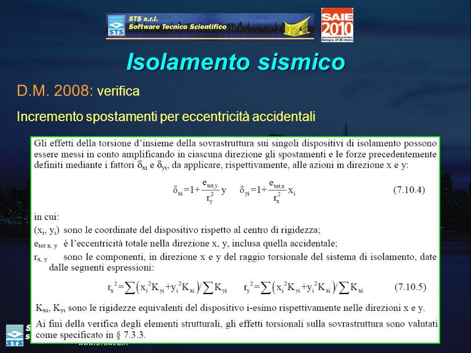 44 Isolamento sismico D.M. 2008: verifica Incremento spostamenti per eccentricità accidentali