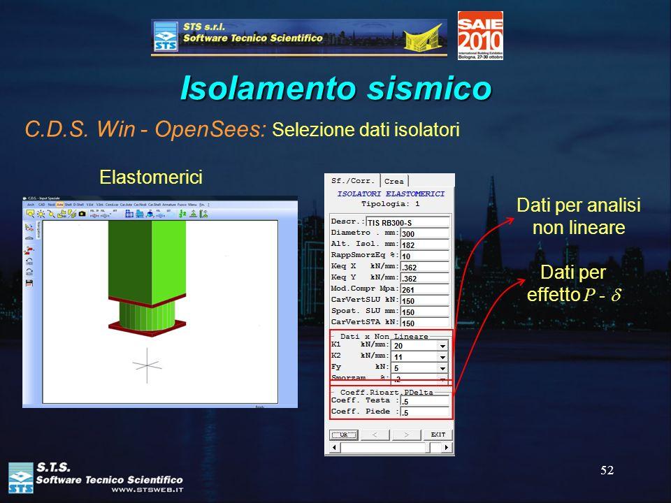 52 Isolamento sismico C.D.S. Win - OpenSees: Selezione dati isolatori Elastomerici Dati per analisi non lineare Dati per effetto P -