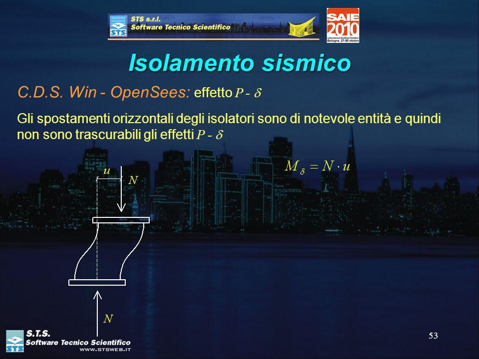 53 Isolamento sismico C.D.S. Win - OpenSees: effetto P - Gli spostamenti orizzontali degli isolatori sono di notevole entità e quindi non sono trascur