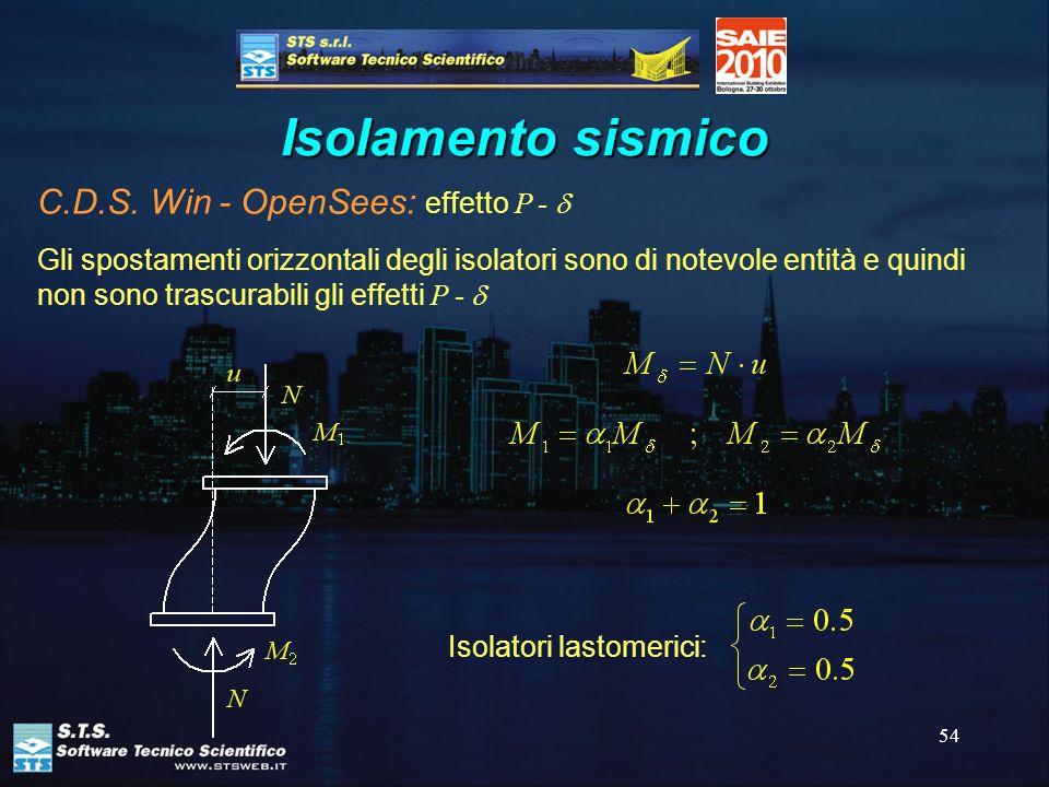 54 Isolamento sismico C.D.S. Win - OpenSees: effetto P - Gli spostamenti orizzontali degli isolatori sono di notevole entità e quindi non sono trascur