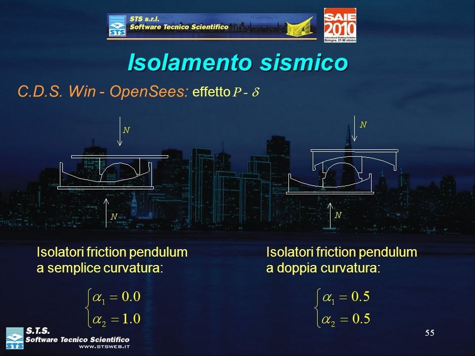 55 Isolamento sismico C.D.S. Win - OpenSees: effetto P - Isolatori friction pendulum a semplice curvatura: Isolatori friction pendulum a doppia curvat
