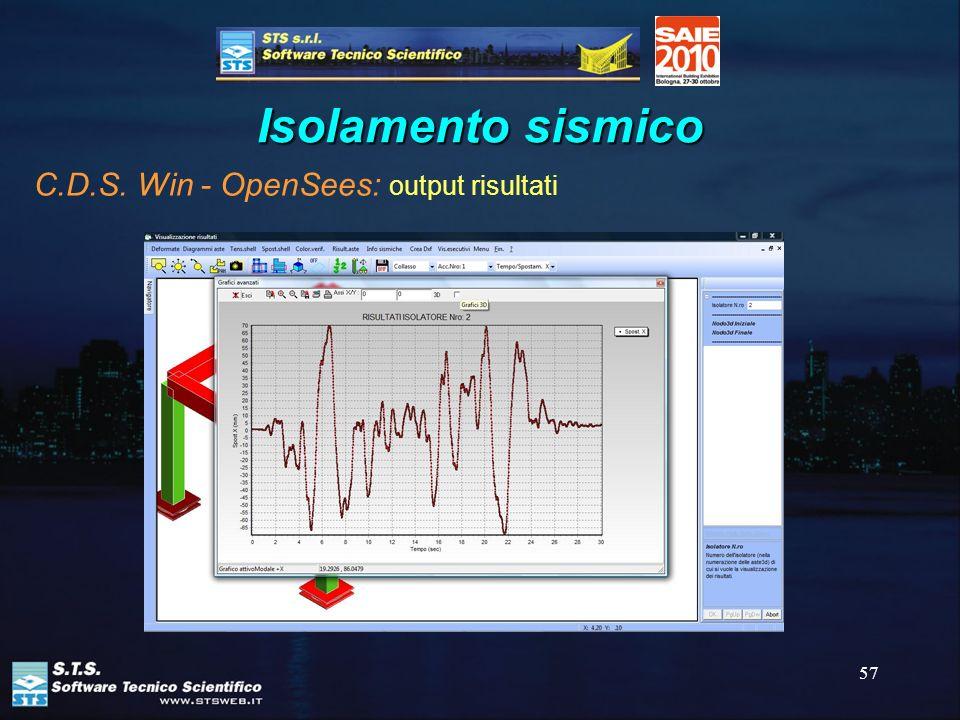 57 Isolamento sismico C.D.S. Win - OpenSees: output risultati