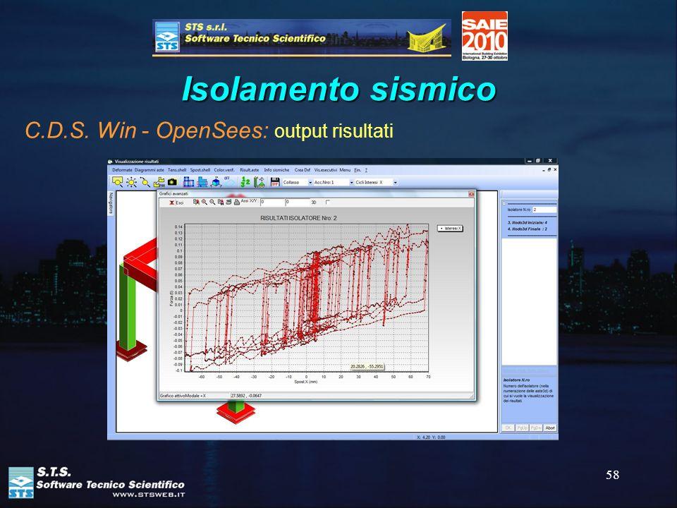 58 Isolamento sismico C.D.S. Win - OpenSees: output risultati