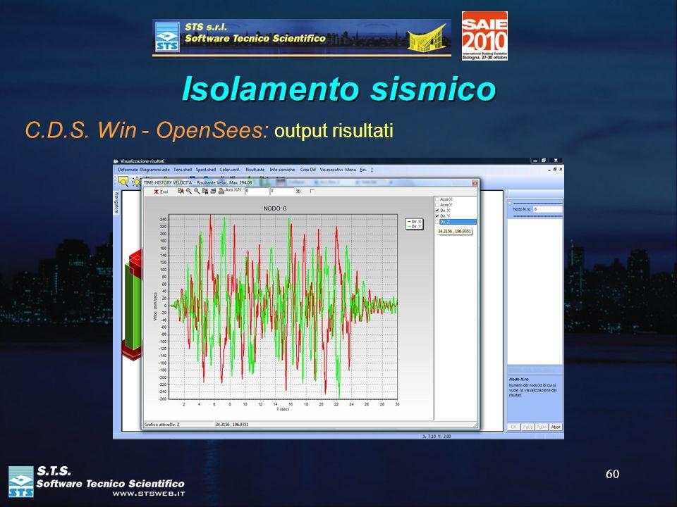 60 Isolamento sismico C.D.S. Win - OpenSees: output risultati