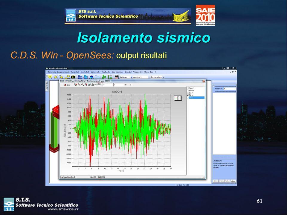 61 Isolamento sismico C.D.S. Win - OpenSees: output risultati