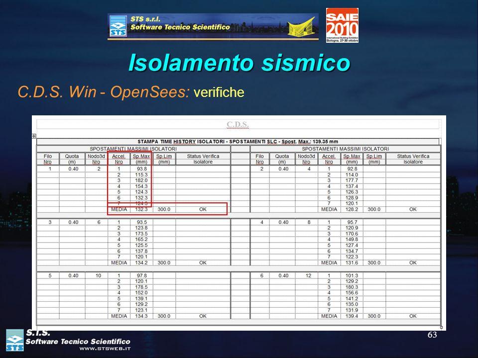 63 Isolamento sismico C.D.S. Win - OpenSees: verifiche