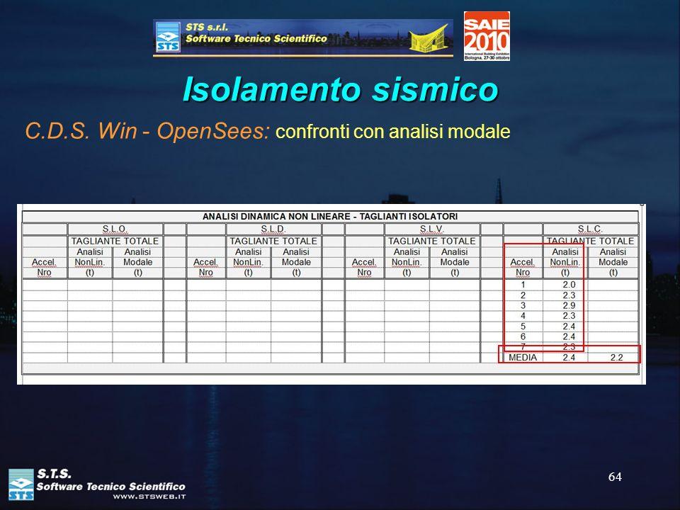 64 Isolamento sismico C.D.S. Win - OpenSees: confronti con analisi modale