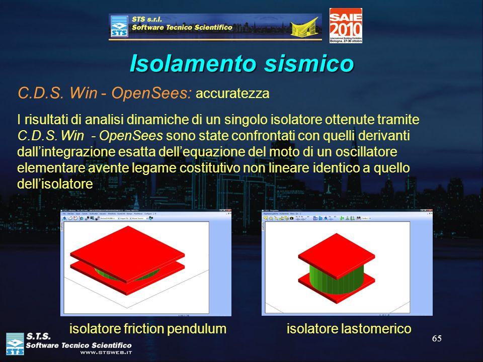 65 Isolamento sismico C.D.S. Win - OpenSees: accuratezza I risultati di analisi dinamiche di un singolo isolatore ottenute tramite C.D.S. Win - OpenSe
