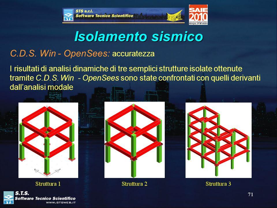 71 Isolamento sismico C.D.S. Win - OpenSees: accuratezza I risultati di analisi dinamiche di tre semplici strutture isolate ottenute tramite C.D.S. Wi
