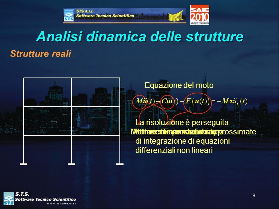 9 Analisi dinamica delle strutture Strutture reali Equazione del moto Forze di richiamo Matrice di smorzamento Matrice di massa La risoluzione è perse