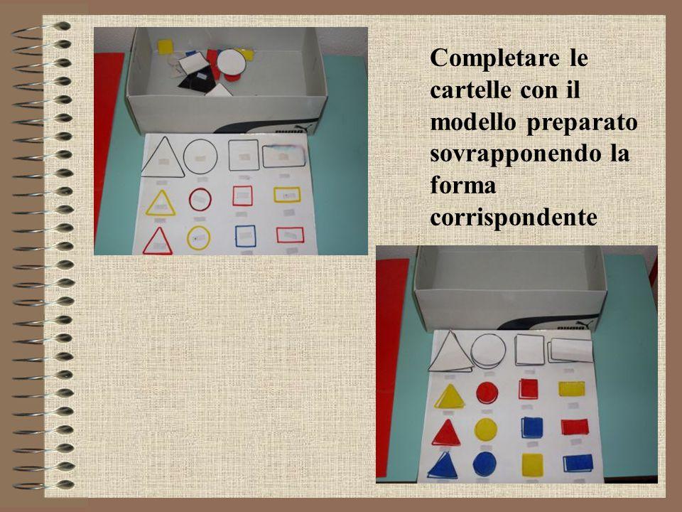 Completare le cartelle con il modello preparato sovrapponendo la forma corrispondente