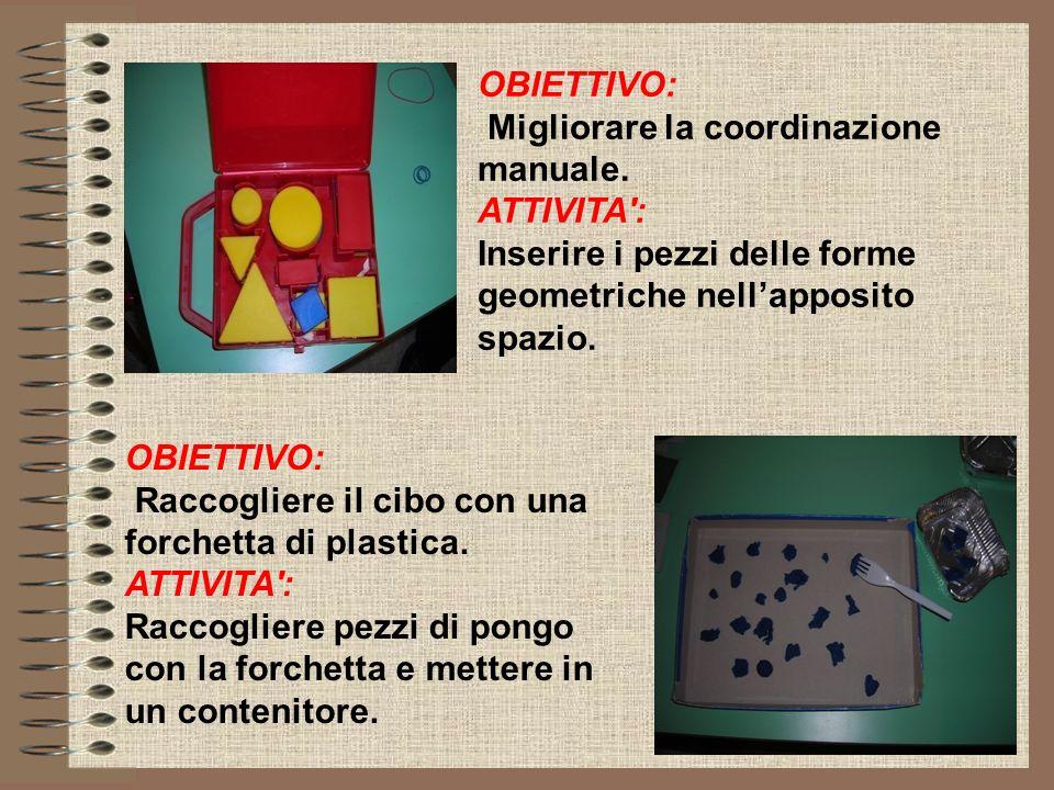 OBIETTIVO: Migliorare la coordinazione manuale. ATTIVITA': Inserire i pezzi delle forme geometriche nellapposito spazio. OBIETTIVO: Raccogliere il cib