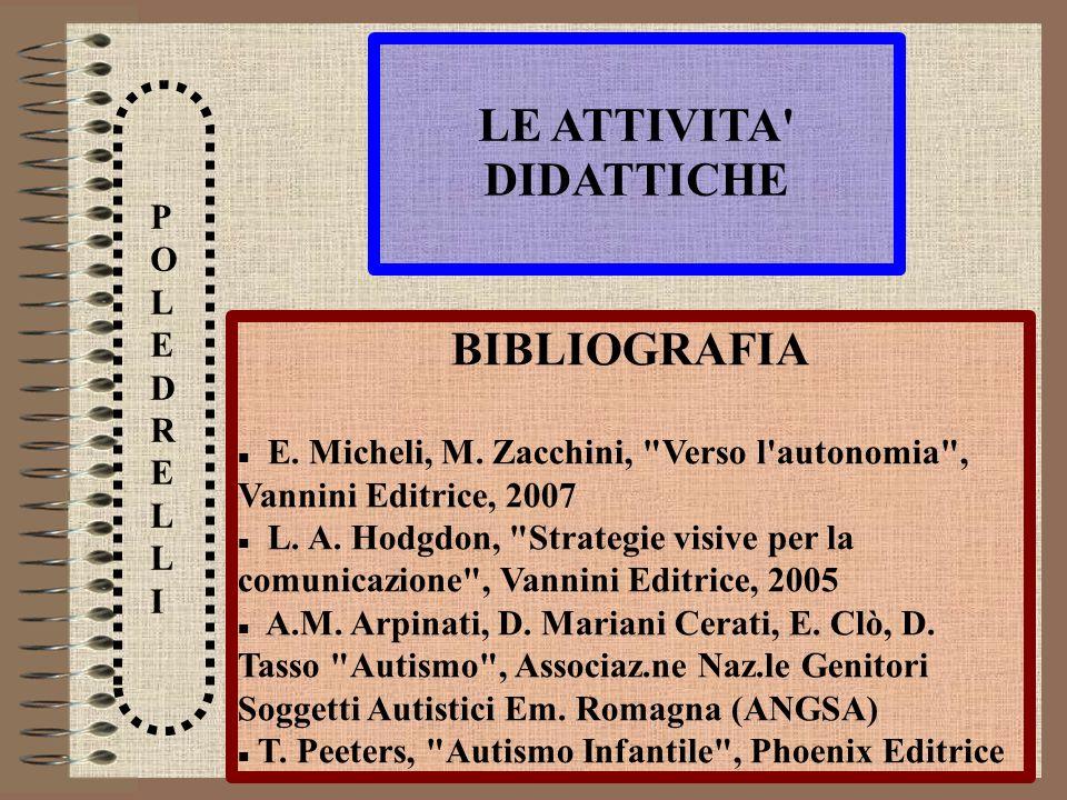 LE ATTIVITA' DIDATTICHE POLEDRELLIPOLEDRELLI BIBLIOGRAFIA E. Micheli, M. Zacchini,