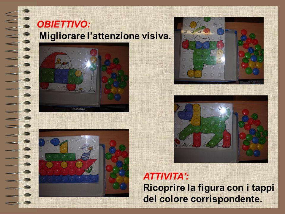 OBIETTIVO: Migliorare lattenzione visiva. ATTIVITA': Ricoprire la figura con i tappi del colore corrispondente.
