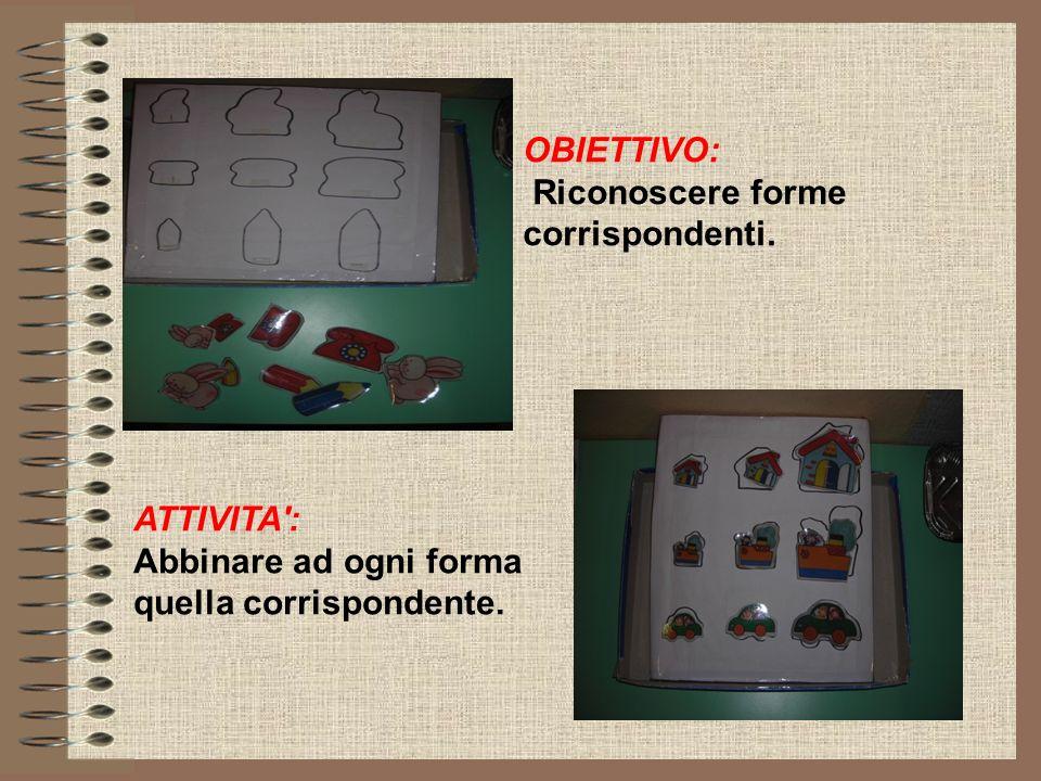 OBIETTIVO: Riconoscere forme corrispondenti. ATTIVITA': Abbinare ad ogni forma quella corrispondente.