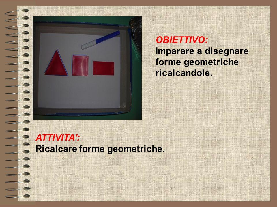 OBIETTIVO: Imparare a disegnare forme geometriche ricalcandole. ATTIVITA': Ricalcare forme geometriche.