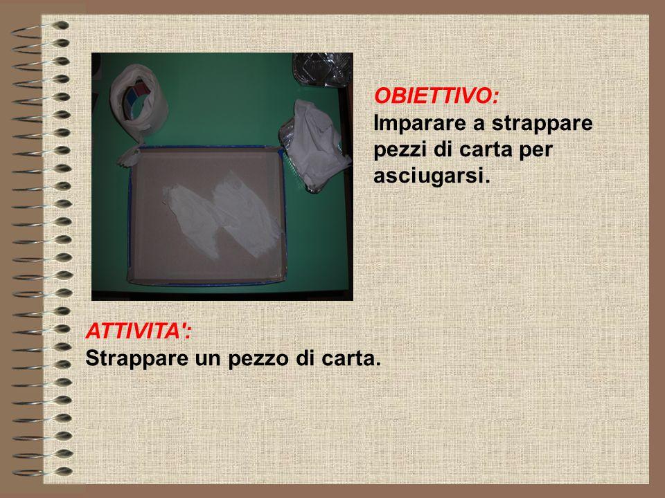 OBIETTIVO: Imparare a strappare pezzi di carta per asciugarsi. ATTIVITA': Strappare un pezzo di carta.
