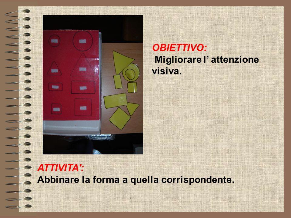 OBIETTIVO: Migliorare l attenzione visiva. ATTIVITA': Abbinare la forma a quella corrispondente.